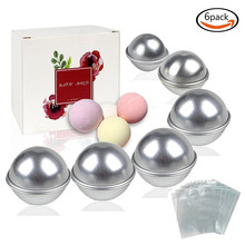 BAKHUK 12 Pcs DIY Metal Bath Bomb Mold 3 Sizes 6 Sets Ball Sphere Shape Bathing Tool & 100 Shrink Wrap Bags(China)