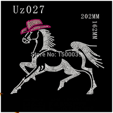 20pcs/lot Horse Pattern hotfix rhinestones transfer motifs For Clothing strass crystal roll Wholesale