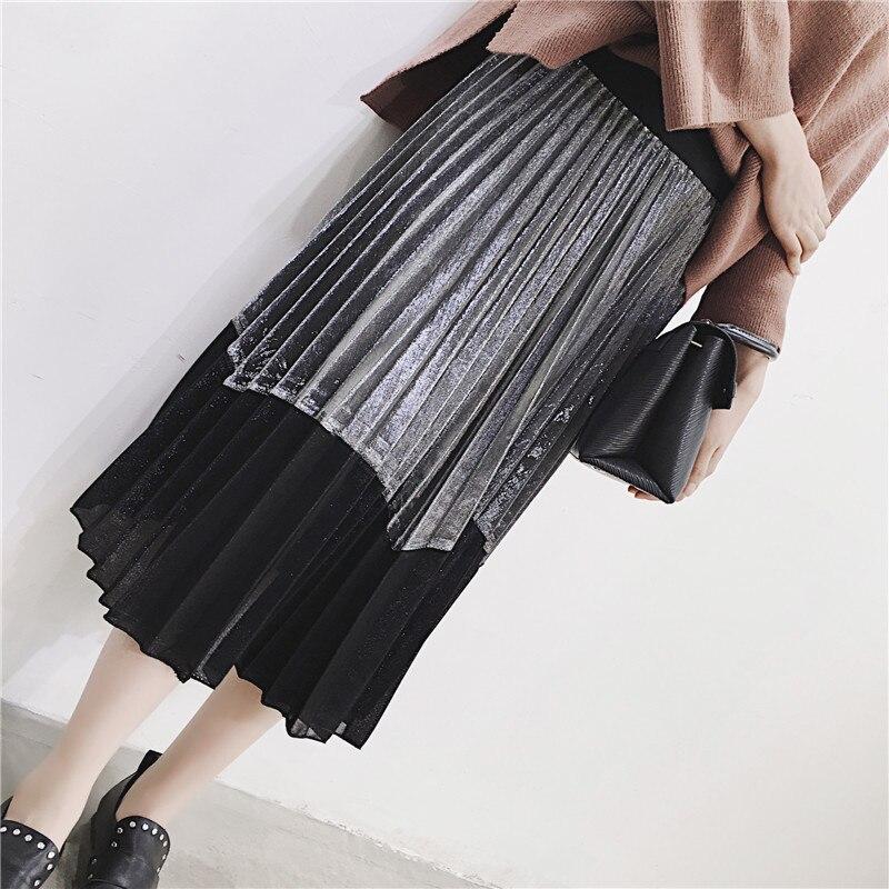 [GUTU] Autumn Summer 2018 Korean New Fashion Patchwork Color Bottoms All-match Elastic Waist Pleated Skirt Loose Women F89201 47