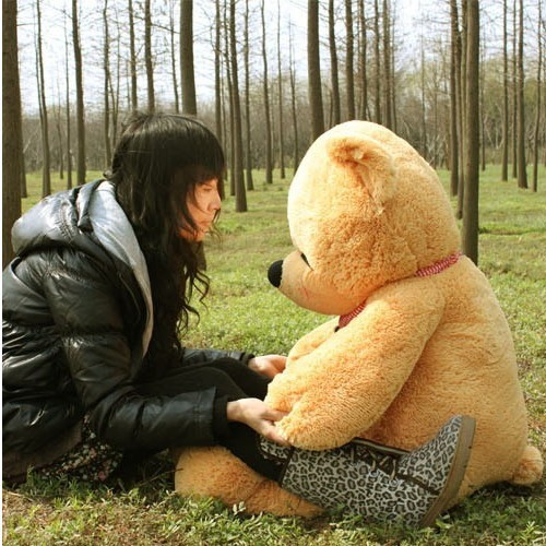 the lovely bear toy plush toy cute sleeping stuffed bear toy teddy bear birthday gift light yellow brown 80cm(China)