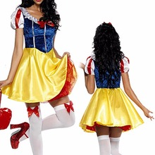Adult Snow White Costume Cosplay Fantasia Halloween Costumes For Women Princess Dress Fancy Party Dress(China)