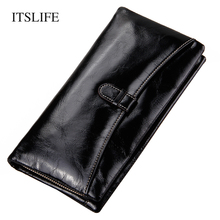 ITSLIFE Women Genuine Leather Wallet Female Cowhide Long Wristlet Zipper Large Capacity Coin Purse Ladies Phone Bag Money Bag
