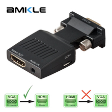 Buy Amkle VGA HDMI Adapter Converter VGA Male HDMI Female 1080P Video Converter Audio Power Cable PC Laptop Computer for $8.66 in AliExpress store