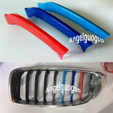 Angelguoguo 3D ABS  M Styling 3 Colors Car Front Grille Trim Sport Strips Cover sticker for 2014-2017 BMW 4 Series ( 9 grilles)