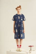 Harajuku Girl Cherry Print Navy Collar Short Sleeve Dress Summer Dress Vintage Wrap Short Dress Women Chic Chiffon Blue Dress(China)