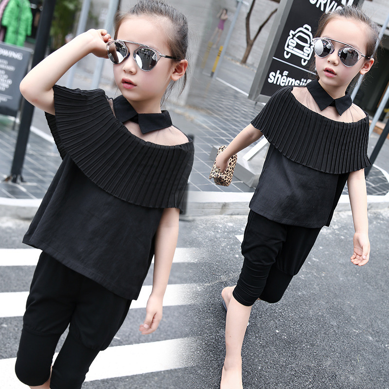 Summer Korean Lotus Leaf Lead Suit Child Mother And Daughter Parenting Kids Clothing Sets<br>