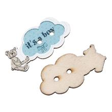 "Wood Sewing Scrapbooking Button Cloud Blue Two Holes ""It's A Boy"" Pattern 3.0cm x 14.0mm,50 PCs 2016 new"