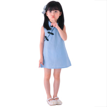 Summer Baby Girls Dress Vintage Solid Color Princess Dresses Sleeveless Baby Cheongsam Girl Party Dress Children Clothes Blue