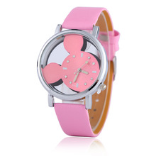 Women Watches Cartoon New Mouse Delicate Transparent Hollow Dial Leather Strap Dress WristWatch Quartz Lady Child Relojes(China)