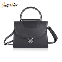 Guapabien Classic Black Brown Handle Tote Bag High Quality Women OL Dress Handbag Hasp Leather Shoulder Bags Ladies Phone Bag