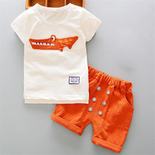 BibiCola boys clothes summer baby clothing for children kids boy cartoon crocodile White T-shirt shorts bebe fashion outfits(China)