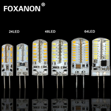 Foxanon Brand G4 3014 SMD 12V 3W  5W 6W Dimmable Led Light 24 48 64Leds Corn Bulb Silicone Lamps Chandeliers Lighting 1PCS