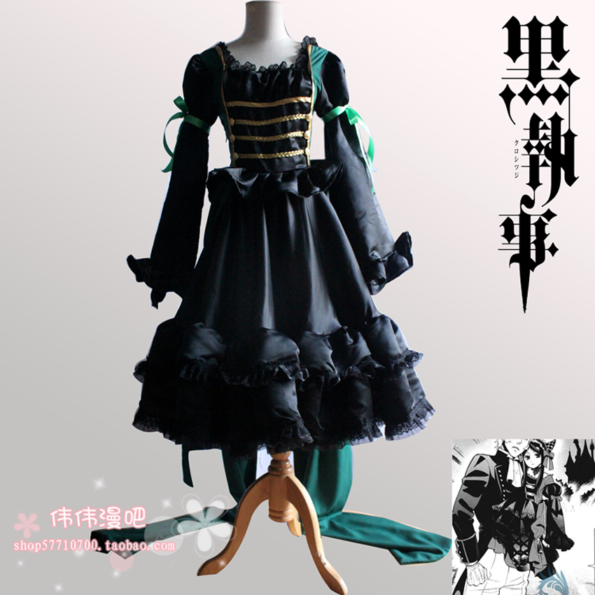 2016 The Original Beautiful Black Butler Sieglinde Sullivan Green Witcn Cosplay Costume