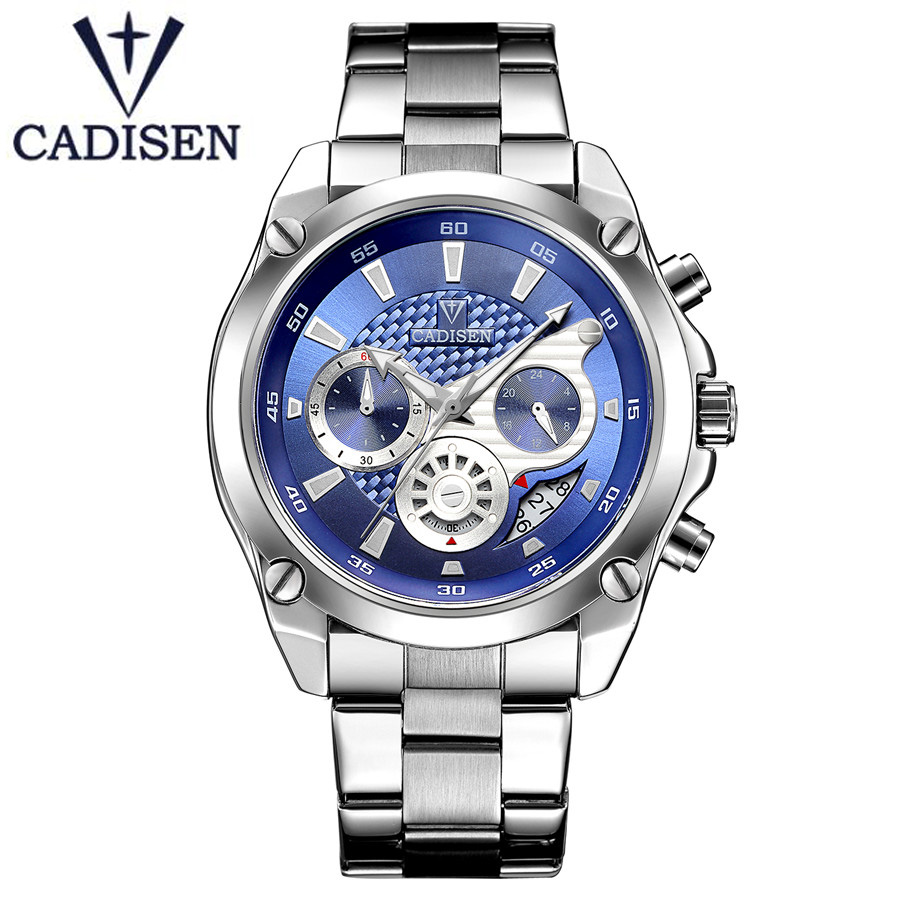 Top Brand Military Quartz Sport Mens Watch Blue Dial Stainless Steel Strap Watches Casual Wristwatch Full Steel Men Clock 2018<br>