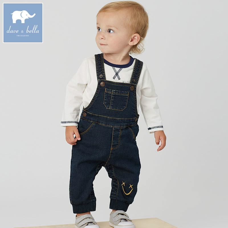 DB6145 dave bella autumn toddle overalls baby boys 100% cotton overalls infant clothes baby cute overalls<br>