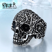 BEIER Wholesale Classic Garden Flower Skull Ring For Man Stainless Steel Man's Punk Style Jewelry BR8-071 US Size(China)