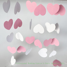 Pink White Color Sparkles heart Circle Paper Garland, Paper Banner, Bridal Shower,Gender Reveal Baby, Birthday Party(China)