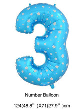 Pink/Blue Star Heart Dot Number Helium Air Balloons  Wedding Birthday Party Decorations Inflatable Baloes Number 3