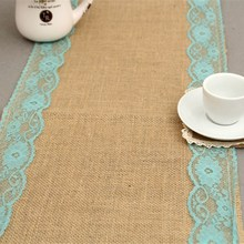 Table Runner Lace Jute Wedding Decoration Bride New Vintage Natural Country Party Event Banners Flag Hessian Burlap Edges