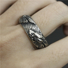 Cool Black Silver Wolf Band Ring Stainless Steel Jewelry Spade Skull Ring Band Party Wolf Ring(China)