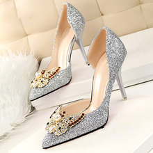 Brand 2017 luxury designer Rhinestone red bottom high heels shoes women pumps ladies wedding shoes bride gold sliver heels shoes