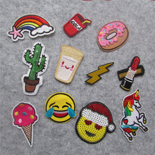 high quality fashion patches hot melt adhesive applique embroidery patches stripes DIY clothing accessory patch C2235-C2248