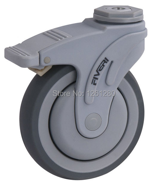 free shipping 5-inch plastic super synthetic rubber TPR medical bed caster with brake Ball Bearing wheel<br>
