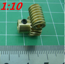1 sets 0.5M 20 teeth reduction ratio:1:10 brass worm gear hole -4MM worm rod:3mm metal worm reducer transmission(China)