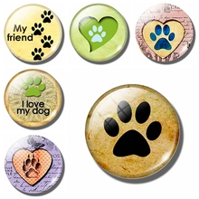 Dog Paw 30 MM Fridge Magnet Dog Lover Memorial Puppy Dog Bear Glass Dome Magnetic Refrigerator Stickers Note Holder Home Decor(China)