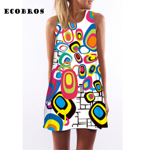 Buy ECOBROS 2017 Turkey New Woman Summer Dress casual sleeveless Loose print knee dresses plus size woman clothing dress for $7.99 in AliExpress store