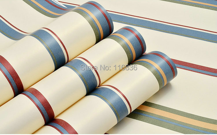 Modern Blue&amp;Green&amp;Red Striped Line 100 Wood Fiber Wallpaper Vintage Living Room Wall Paper papel de parede Wallpaper Rolls<br>