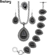 Buy Drop Flower Pendant Stone Jewelry Sets Necklace Bracelet Earrings Rings Women Vintage Antique Silver Plated Party Gift TS58 for $5.94 in AliExpress store