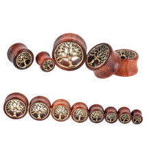 1 Pc! The Tree Of Life Saddle Fit Ear Plug Wood Flesh Tunnel Organic Body Ear Expander Fashion Piercing Earring Fashion Jewelry