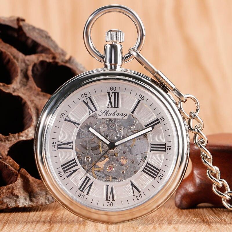 Auto Mechanical Skeleton Pocket Watch Men Women Self Winding Open Face Roman Numbers Stylish Luxury Fob Nursing Clock Xmas Gift<br><br>Aliexpress