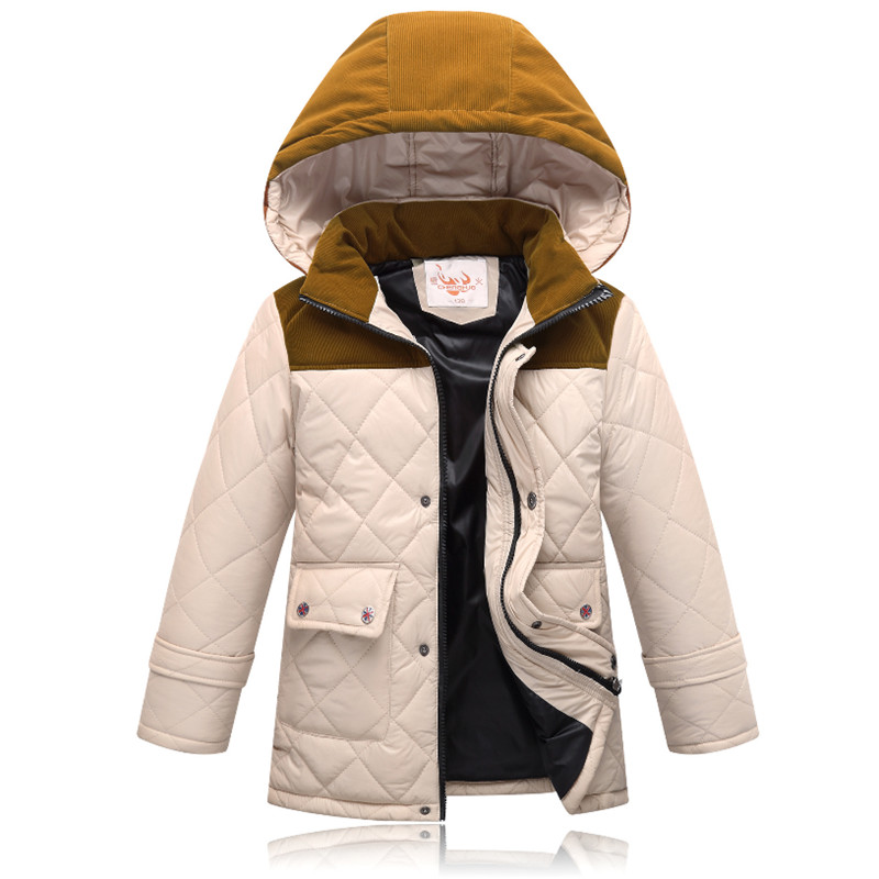 Boys &amp; Girls Winter Coat Parkas Wadded Jackets Childrens Cotton Jacket Casual Thick Warm Hooded Outerwear 130-170 High QualityÎäåæäà è àêñåññóàðû<br><br>