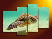 4 Panels Sea turtle HD Swim in Sea Bottom Canvas Print Painting for Living Room Wall Art Picture Gift Home Decoration FOU010