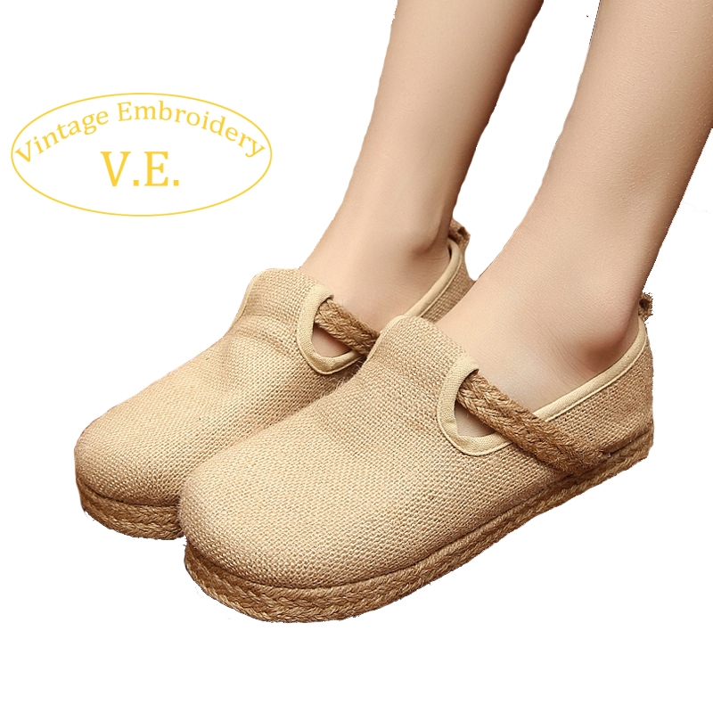Vintage Embroidery Womens Breathable Shoes Cotton Linen Single Casual Handmade Woven Flat Shoes Comfortable Shoes<br><br>Aliexpress
