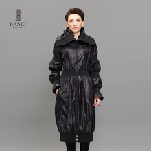 BASIC EDITIONS Spring Autumn Trench Coat Women Pleated Lantern Sleeve  Loose Long Womens Windbreaker Black Orange JCF09102