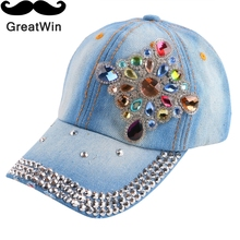 baby kids large floral flower beauty children baseball cap color rhinestone denim jeans cotton hip hop snapback for boy girl(China)