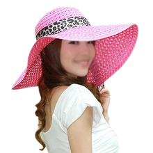 NEW Pink Summer Exquisite Leopard Ribbon Bowknot Decorated Openwork Sun Hat For Women