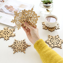 ZAKKA Snowflake Wood Coasters Cup Mat Placemats for Table Decorations Great Gifts 10pcs/lot SQ163