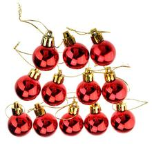 3cm Shining Christmas Baubles Round Balls Christmas Tree Party Decorative Balls Ornament - 12 pcs/set (Red)(China)