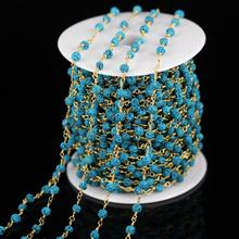 5mm,5 Meters,Blue Lava Beaded Chains Necklace,Wire Wrapped Golden Brass Links for Bracelet Jewelry Findings ZJ-80(China)