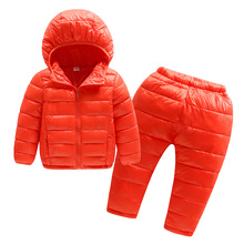 BibiCola Little Boys Coat kids Warm Jacket Bebe Clothes Winter Thicken Clothing Set Children Hooded Down Coat Jacket +Pants(China)