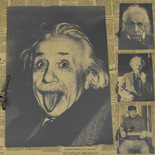 wall sticker Einstein imagination is more important than knowledge retro posters kraft paper vintage movie poster 42*30cm(China)