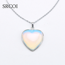 SRCOI New Opal Jewelry Heart Necklace Natural Crystal Stone Necklace Pendant Designs Silver Birthstone Opal Stone Colar Feminino(China)