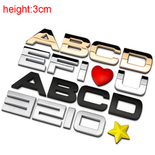 3cm Chrome Metal Zinc DIY ABC 123 Letters Digital Heart Star Car Styling Refitting Emblem Telephone Number Alphabet 3D Sticker