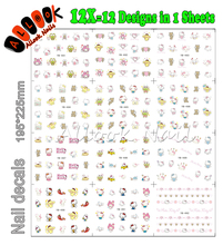 Nail Art Sticker (Large Piece YB481-492 12 DESIGNS IN 1)Cartoon KT Colourful Hello Kitty Nail Art Water Transfer Sticker Decal