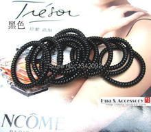 Fashion Black Kid's Slim Telephone Wire CORD Stretchy Hair Band Hair Accessory Elastic Ponytail Holder(China)