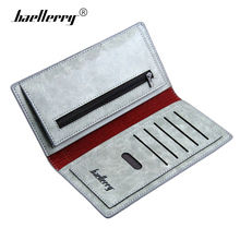 Baellerry Male Purse Clutch Long Design Leather Wallet Men Brand Chineses Style Wolf Word Card Holder Vintage Men's Coin Pocket